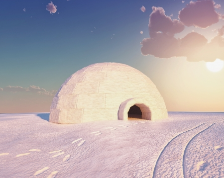 Igloo landscape   3D and hand-drawing elements combined Stock Photo - 15176715
