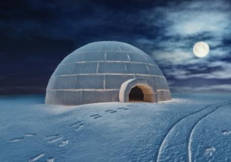 esquimal: Igloo por la noche 3D y dibujo a mano elementos combinados