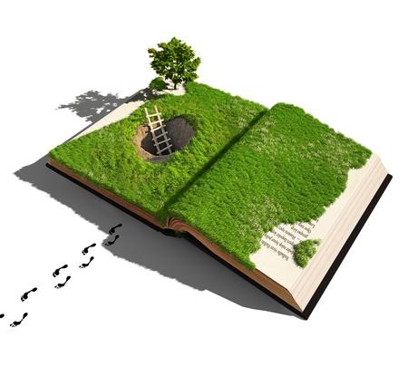 bible ouverte: �chapper � un concept de conte de f�es illustr� Banque d'images