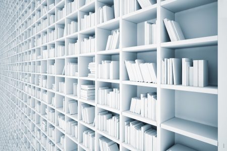 endless white shelves  illustrated concept