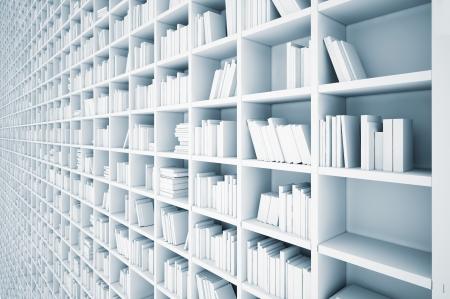 interminables estantes blancos concepto ilustrado
