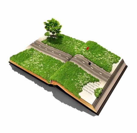move forward: road on the book pages  illustrated concept
