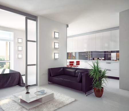 glass doors: modern style apartment photorealistic  illustration