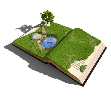 dream lake: open book with grass , tree and little pond   illustrated concept