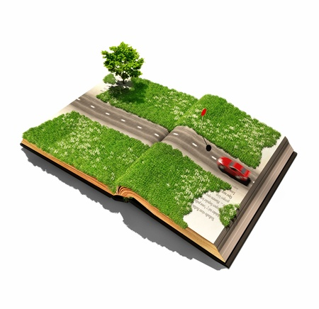 3d image: moving car on the oprn book pages  illustrated concept