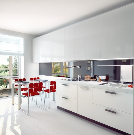 kitchen cabinet: modern kitchen  interior concept  illustration  Stock Photo