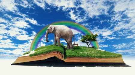 open book with elephant on the grass  illustration  concept  Stock Illustration - 15702903