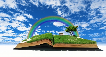 fable: open book with grass and tree  illustration concept  Stock Photo