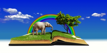open book with elephant on the grass  illustration  concept  Stock Illustration - 15702893