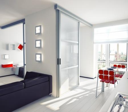 penthouse: modern style apartment concept   illustration Stock Photo