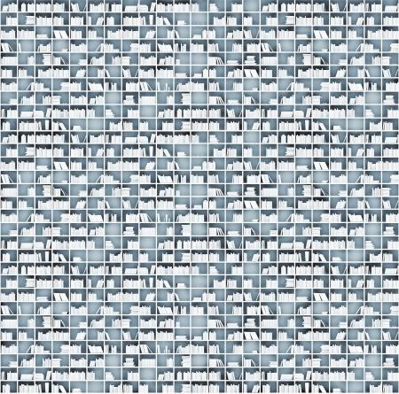 illustrated: white shelves matrix  illustrated concept