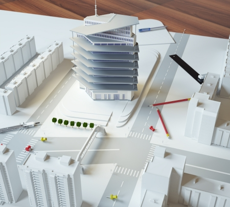architectural exterior: architectural model of a modern building Stock Photo