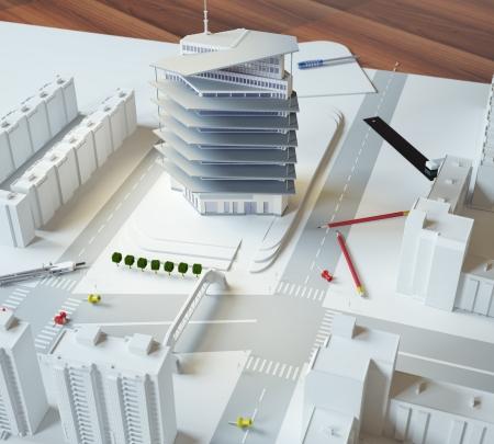 arquitectura: modelo arquitectónico de un edificio moderno