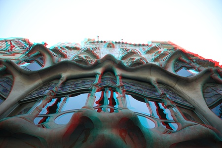 3D photo of famous Barcelona landmark - Antonio Gaudi's work- house Casa Battlo  (or house of bones) building (need red-cyan glasses)