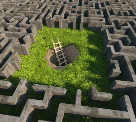 difficult to find: tricky to get out of the maze. 3D concept