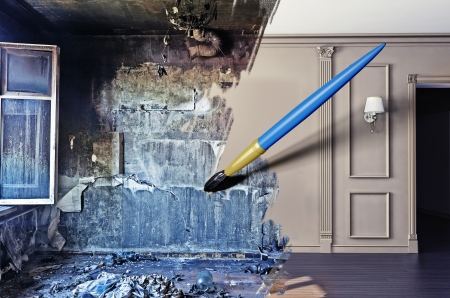 home renovations: brush, drawing beautiful interior over dirty image. concept