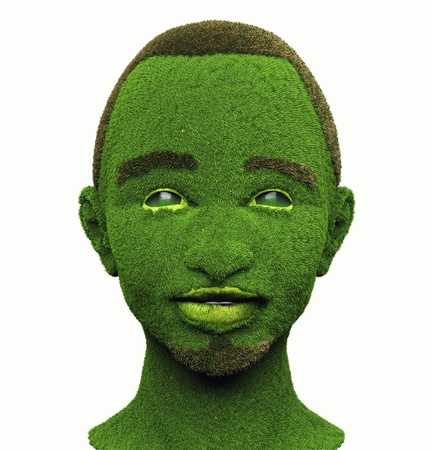 face covered: green man with face, covered with grass Stock Photo