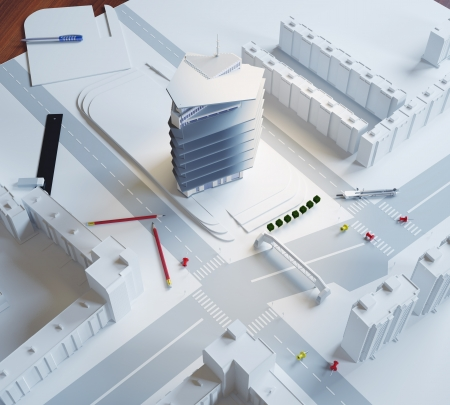 planing: architectural model of a modern building Stock Photo