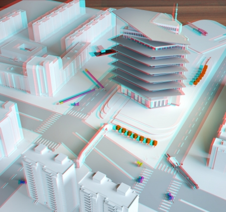 construction plan: stereo  architectural model of a modern building  need anaglyph red-cyan glasses