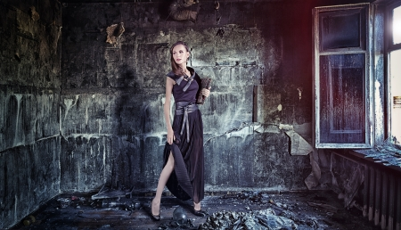 young beautiful vintage women in grunge interior Stock Photo - 16194481