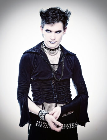 goth-style man in black dress