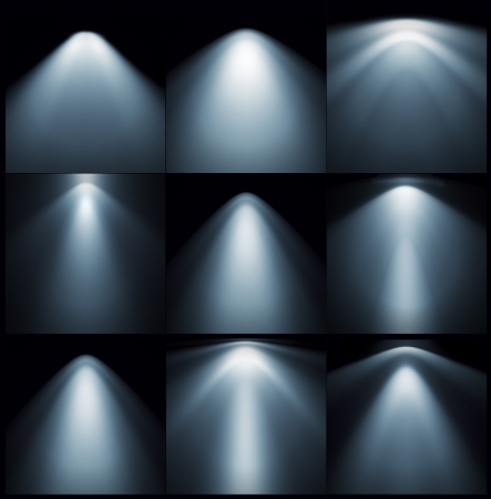 night spot: different types of lights on the wall Stock Photo