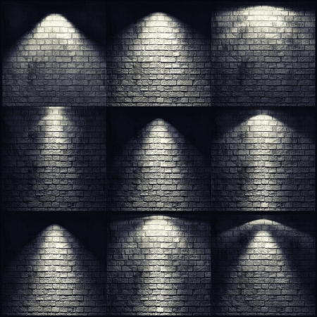 illuminated wall: different types of lights on the brick wall