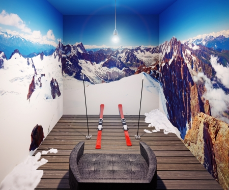indoor photo: armchair, ski and three walls with alps photo  illustrated concept  Stock Photo