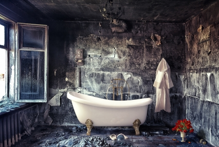 vintage bathtub in grunge interior  photo compilation