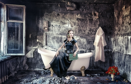 retro styled: vintage woman and bathtub in grunge interior  photo compilation