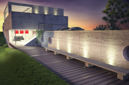 corner house: modern house architecture concept  3D rendering