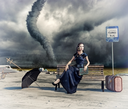victorian lady: woman,waiting a bus and tornado  photo and hand-drawing elements compilation