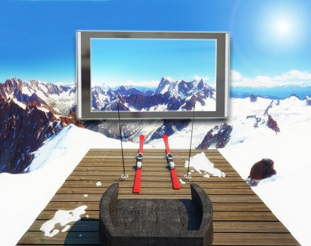 winter theater: home theatre with amazing surround 3d effect  concept  Stock Photo