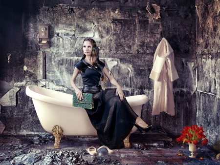 vintage woman and bathtub in grunge interior  photo compilation  photo