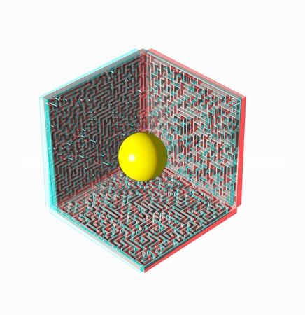 difficult to find: anaglyph stereo test image- 3D maze and ball