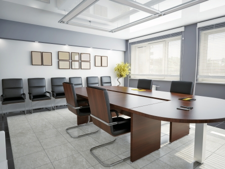 a blind: modern office interior  3D rendering