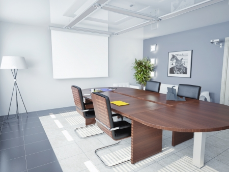 conference room table: modern office interior  3D rendering
