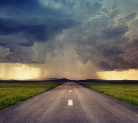 whirlwind: the road to storm   photo compilation  The grain and texture added    Stock Photo