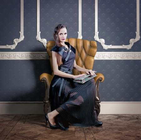 beautiful woman in luxury armchair  photo compilation  photo