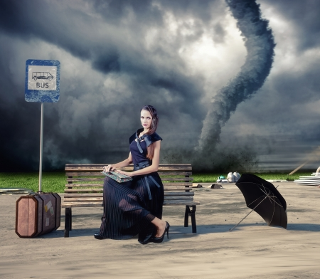 imperturbable: woman,waiting a bus and tornado  photo and hand-drawing elements compilation