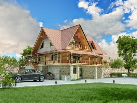 Beautiful luxury home  3D rendering  photo