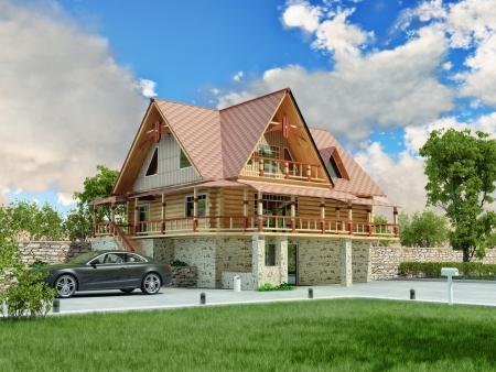 woonwijk: Prachtige luxe woning 3D-rendering