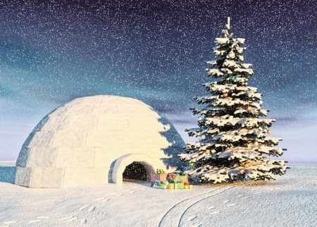 flurry: christmas igloo at the morning