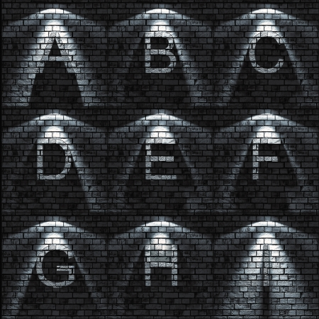 bumped Brick wall textured ABC set   all sets containing letters, numbers, signs and symbols