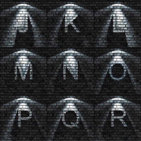 bumped Brick wall textured ABC set   all sets containing letters, numbers, signs and symbols Stock Photo - 16785049