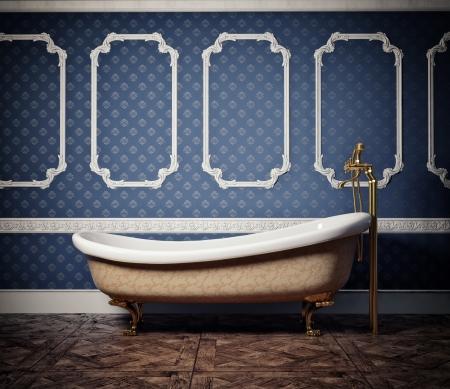 bathroom design: classic style bathtub   photo and cg elements compilation  Stock Photo