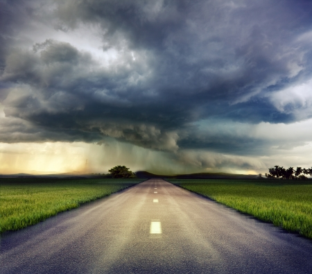wind storm: the road to storm ( photo compilation. The grain and texture added. )  Stock Photo