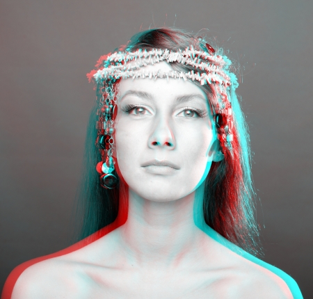 Beautiful woman portrait  anaglyph 3D  To see the image you will need cyan red glasses  photo