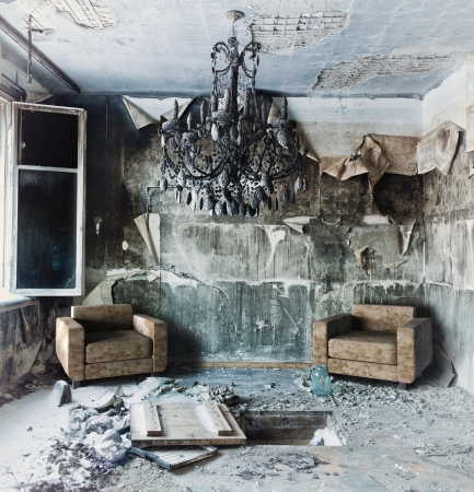 old abandoned burned interior photo  photo