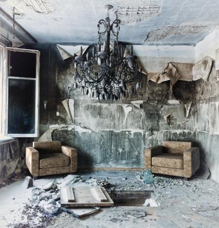 creepy: old abandoned burned interior photo
